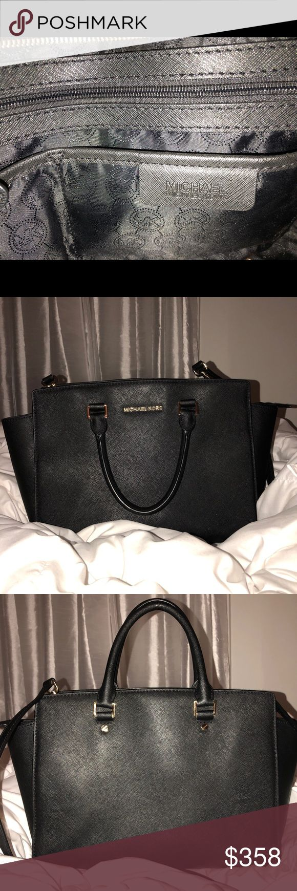 Michael Kors Selma large Saffiano leather satchel It's a black MK purse practically new, very clean, it is the perfect size not too big not too small and the material is nice and lasts. It is a shoulder bag and a crossbody bag KORS Michael Kors Bags Shoulder Bags