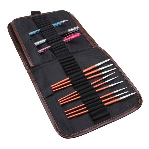 72 Holes Pencil Pen Tool Makeup Brush Case Pouch Pocket Canvas Holder