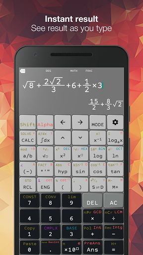 "N-CALC - FX 570 ES/VN PLUS v2.0.3 [Premium]   N-CALC - FX 570 ES/VN PLUS v2.0.3 [Premium] Requirements:4.0 and up Overview:Natural ScientificCalculatorfor Android  Natural display Other apps make you enter equations on a single line like something from the 1970s. Our Natural Input solves this problem by allowing you to enter equations as you'd write them on paper using fractions roots exponents and more. It's called a ""natural display"" and is a common feature on scientific calculators like…"