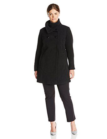 d5862f49328 Larry Levine Women s Plus-Size Double-Breasted Wool-Blend Coat Review