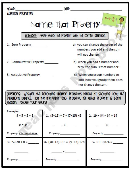FREE!  This worksheet can be used as homework or as a formal assessment. Students are asked to identify the three addition properties (Zero Property, Commutative Property, and Associative Property). Also, they are asked to solved several problems using the different properties. In addition, students work on several problems to decide if they are equal or not equal. Finally, there is mixed review dealing with place value questions