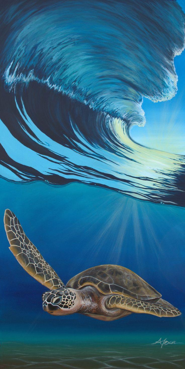 52 best alexas sea turtles images on pinterest sea turtles be epic original acrylic wave painting biocorpaavc Choice Image