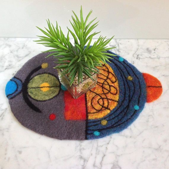 Wool painting. Modern and unique wall hanging centerpiece