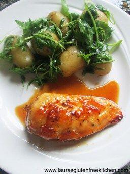 Gluten Free Marmalade Chicken with Rocket Potatoes - Lauras Gluten Free Kitchen