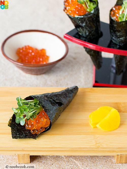 Ikura Temaki (Salmon Roe Handroll) RecipeJapanese Food, Cooking Recipe, Noob Cooking, Japan Recipe, Ikura Temaki, Http Recipese Food Vivaint Biz, Food Recipe, Japan Food, Culinary Recipe