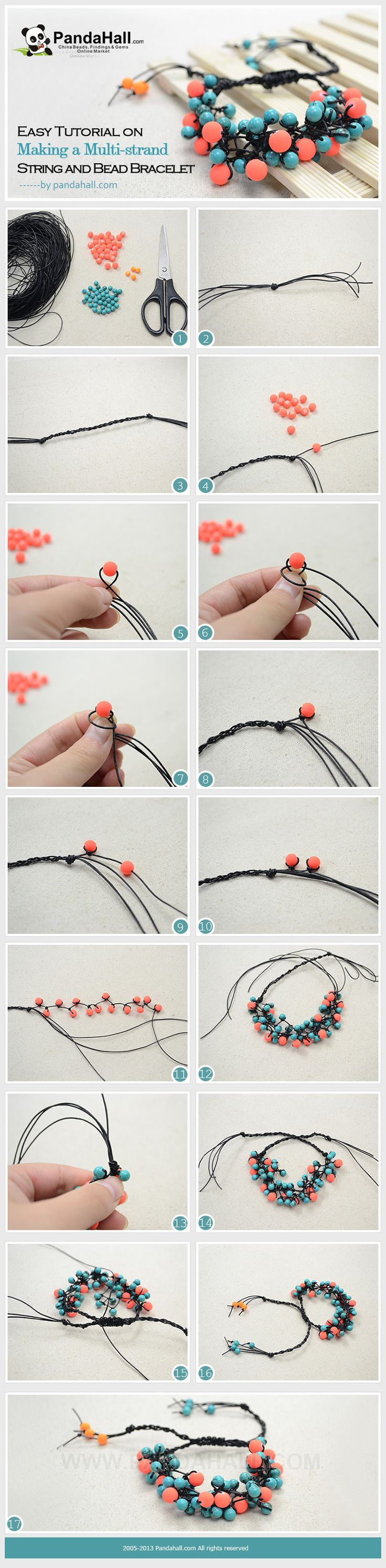 Easy Tutorial on Making a Multi-strand String and Bead Bracelet (link verified)