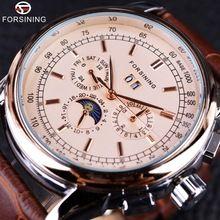 Forsining Moon Phase Shanghai Ruch Złota Róża Case Brązowy Prawdziwy Skórzany Pasek Zegarek Męskie Zegarki Top Marka Luksusowe Auotmatic(China (Mainland))
