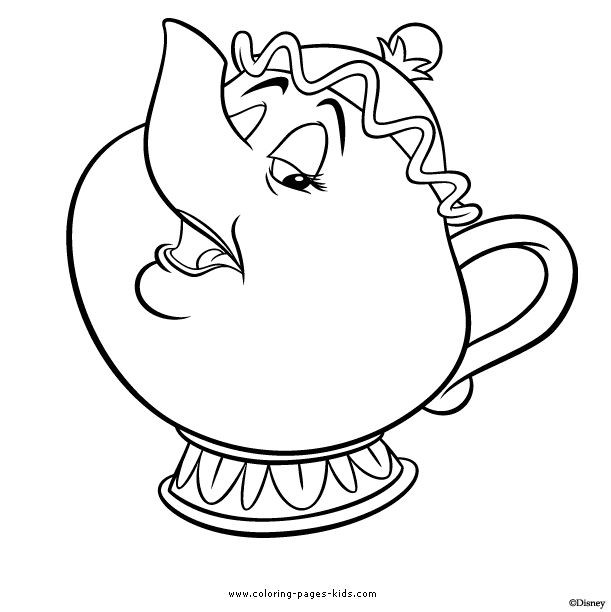 mrs potts beauty and the beast color page disney coloring pages color plate - Kids Drawing Sheet