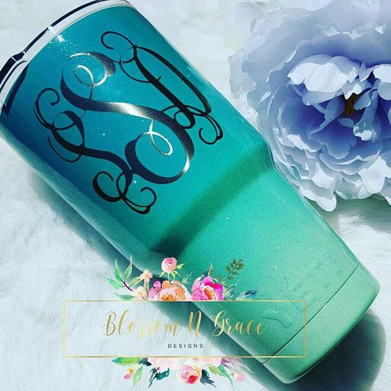 Powder coated Yeti Painted Rtic Glittered by BlossomNGraceDesigns