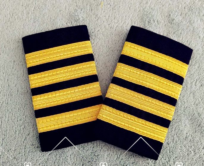 4 Bar Gold Airline Pilot Epaulets Captain Shoulder Board Insignia Slider Cosplay