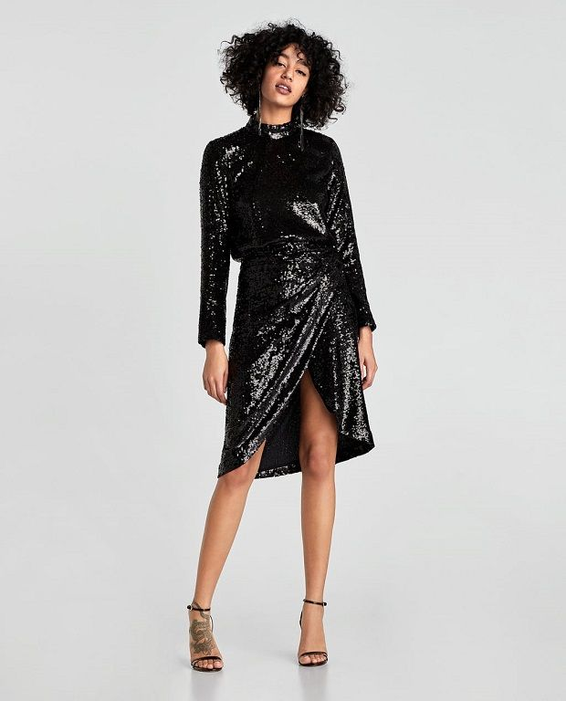 vestidos de lentejuelas Zara Navidad 2017