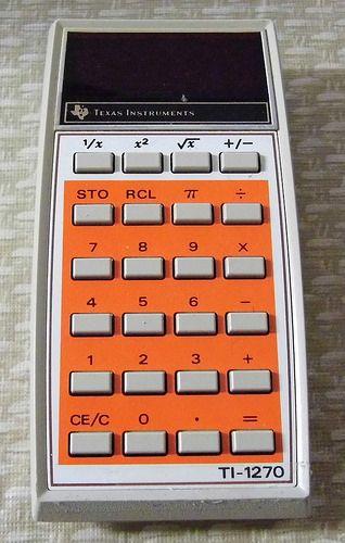 Vintage Texas Instruments Electronic Pocket Calculator, Model TI-1270, Made in USA, Circa 1976.