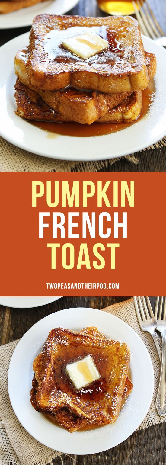 Pumpkin French Toast-thick slices of bread dipped in a spiced pumpkin mixture, cooked in butter, and drizzled with pure maple syrup. The best fall breakfast!