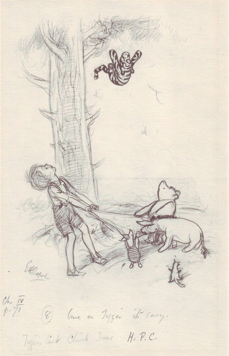 """Tigers can't climb trees"" Winnie the Pooh illustration, E.H. Shepard"