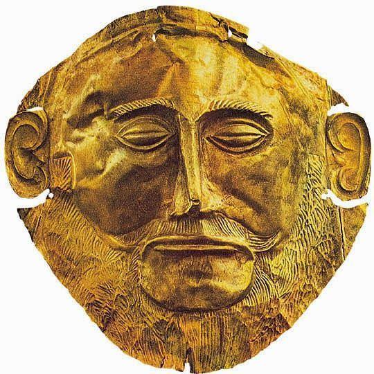 AUTORE: ignoto NOME: Maschera d'oro di Agamennone DATAZIONE: ca 1600-1500 a.C. MATERIALE e TECNICA: ritratto in lamina d'oro dalle tombe reali di Micene LUOGO DI CONSERVAZIONE: museo archeologico nazionale, Atene