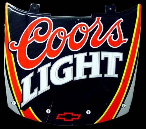 Coors Light Vintage Nascar Hood Tin Metal Signs