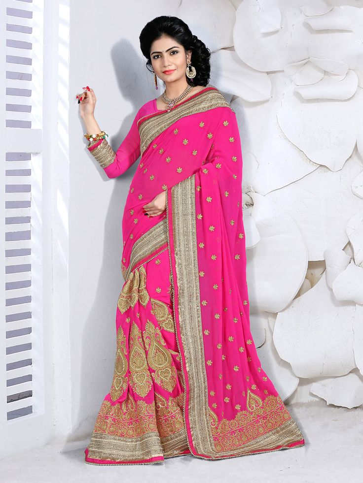 Magenta Georgette Wedding Saree 63462  #WeddingSarees #OnlineShopping