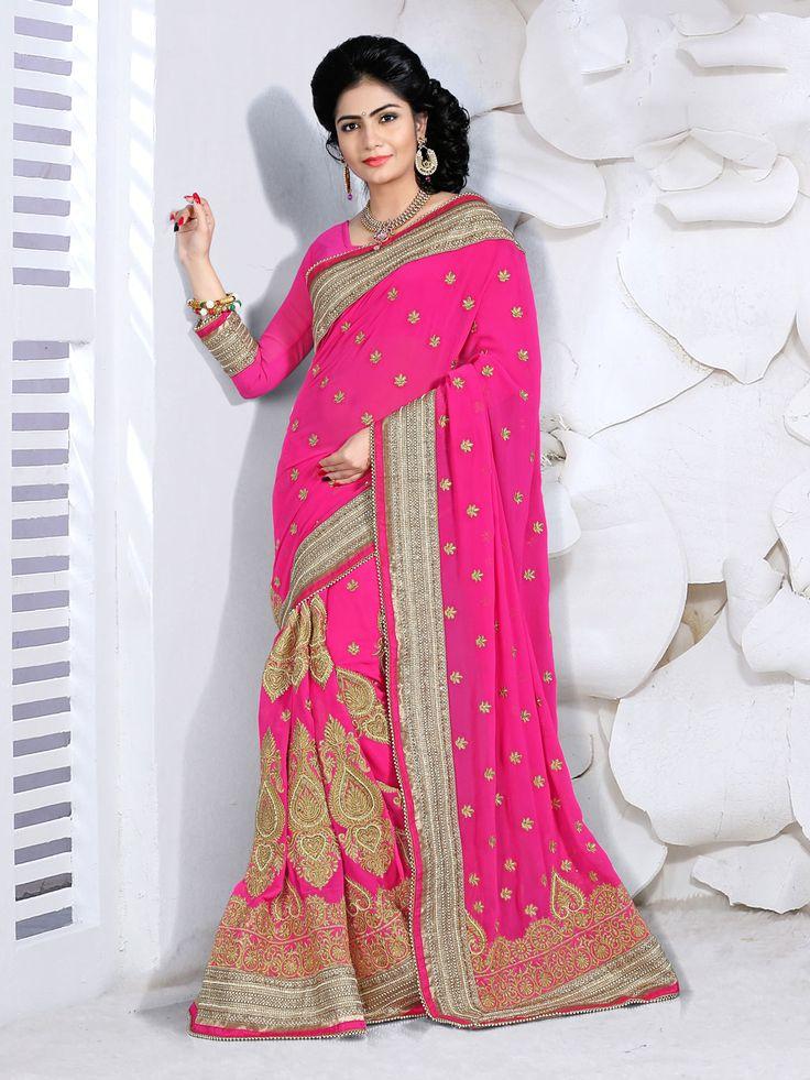 Magenta Georgette Wedding Saree 63462  #WeddingSarees #OnlineShopping