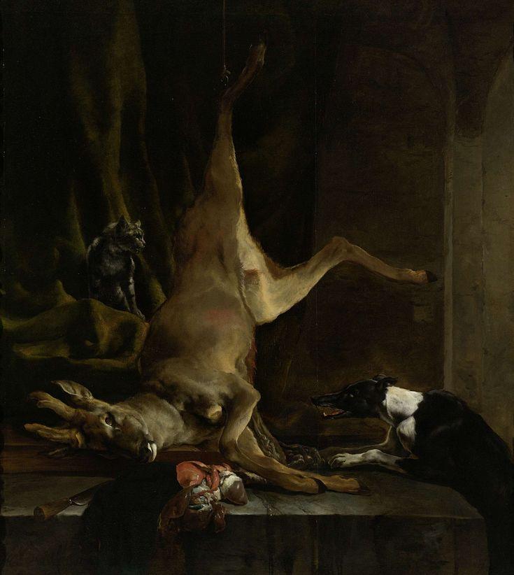 Een hond en een kat bij een half geslachte ree, Jan Baptist Weenix, 1645 - 1660 Wagenaar poelier