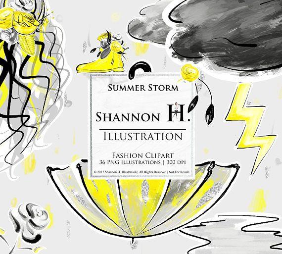 Summer Storm Fashion Illustration Clipart