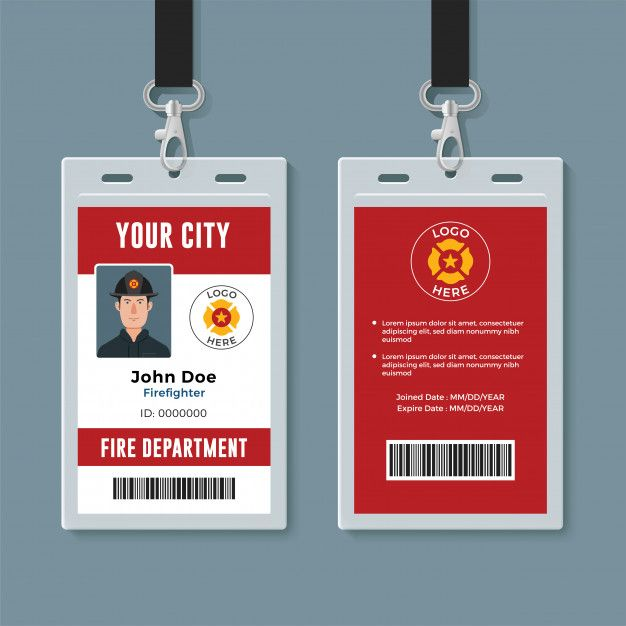 Firefighter Id Badge Design Template Id Card Template Badge Design Business Card Design Creative