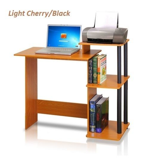 "Office and Home Computer Desk Table for Laptop and Desktop Light Cherry Black Simple style and design, sturdy Office Home Computer Desk, functional and suitable for any room that has limited space for a computer Material: engineered particle board made from recycled materials Features cpu storage shelf, elevated shelf for a compact printer or other stationery supply Some Assembly required 39.5"" x 15.5"" x 33.5"" Efficiently computer desk for laptop and desktop, designed for space saving and…"