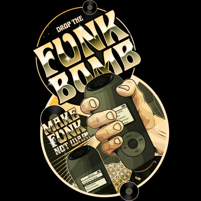 Drop the Funk Bomb is a T Shirt designed by roberlan to illustrate your life and is available at Design By Humans
