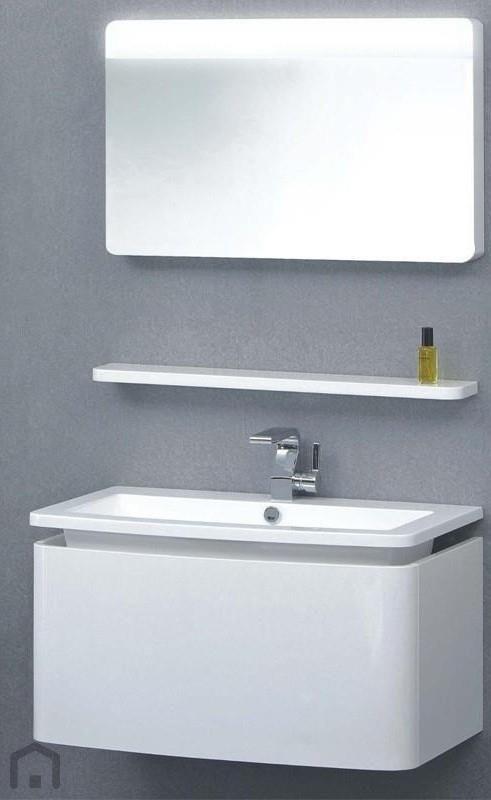 Trend badkamermeubel TR0992 85x48cm blad glans wit / onderbouwkast met 1 Softclose lade hoogglans wit met spiegelpaneel TRE040625 | Badkamermarkt.nl