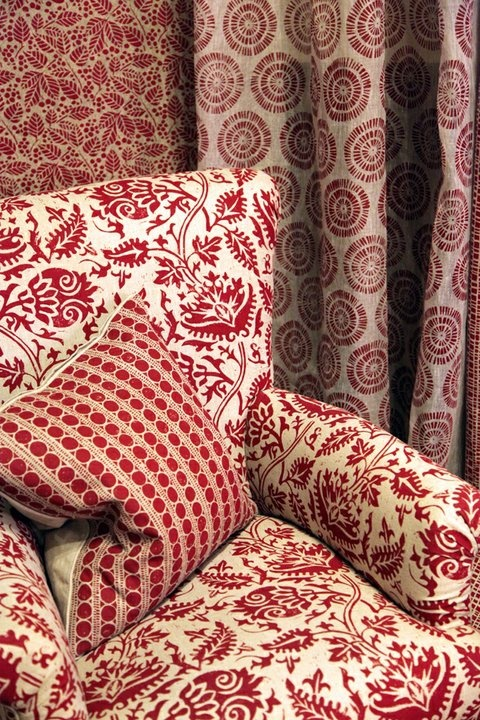Lindsay Alker furnishing fabrics Liberty London. Red pattern on pattern
