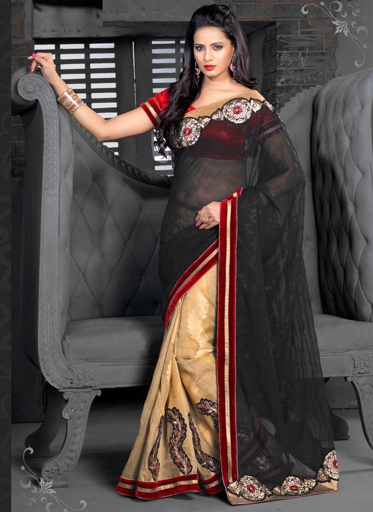 nonpareil-party-wear-black-cream-georgette-designer-saree-800x1100.jpg (800×1100)