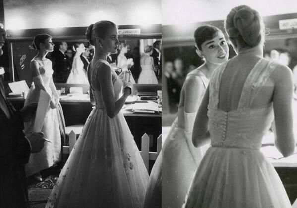 Audrey Hepburn and Grace Kelly backstage at the Oscars