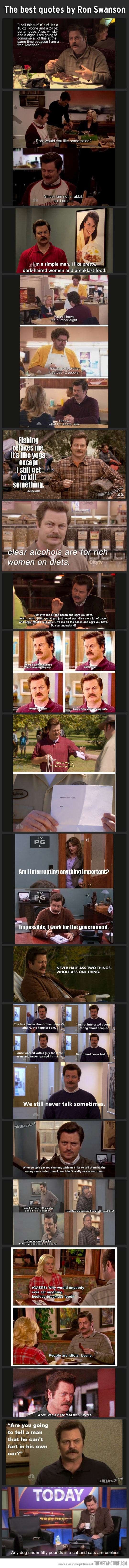 Best quotes by Ron Swanson. I don't follow Parks and Rec faithfully, but I love this character.