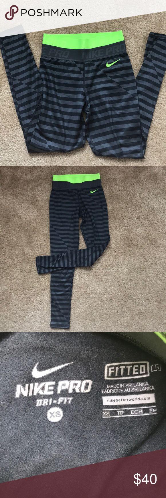 Nike pro leggings with neon band Size XS Great condition  Smoke/per free home Nike Pants Leggings