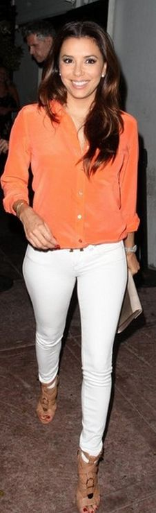 Eva Longoria: Belt – Hermes  Jeans – Henry and Belle  Shoes – Brian Atwood