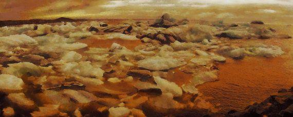 Jokulsarlon sunset  panorama canvas print by ArtbyOlafur on Etsy, $78.00
