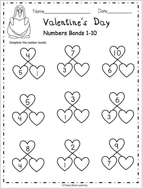 Valentine's Day Numbers Bonds 1-10