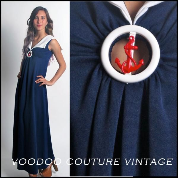 red white and blue nautical maxi dresses | Vtg 70s Red White Blue Sailor Nautical Maxi Dress Cut Out with Anchor ...