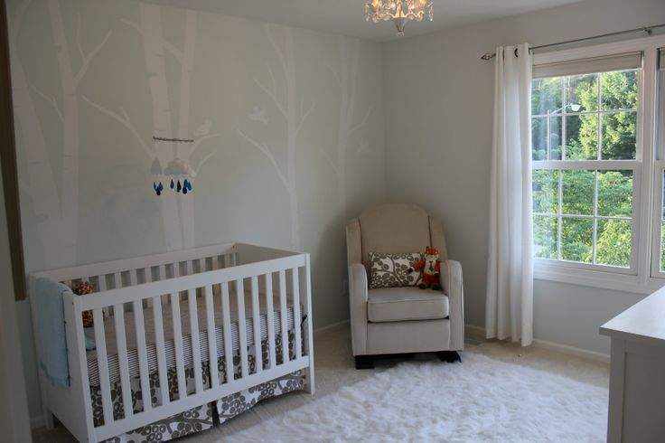 We love a neutral, serene nursery. I love how soft the birch tree decal accent wall is!: Birches Trees, Lights Trees, Serenity Nurseries, Projects Nurseries, Trees Decals, Baby Rooms, Lights Wall, Forests Nurseries, Accent Wall