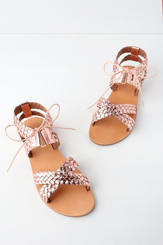 Take to city streets for a day of exploring in the Urge Peta Rose Gold Leather Gladiator Sandals!