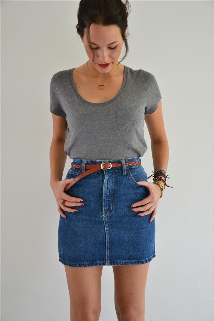 10 best How to wear... high waist denim skirts images on Pinterest ...