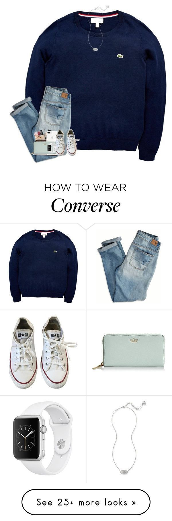 """""""save me✝️"""" by hokieprepster on Polyvore featuring Lacoste, American Eagle Outfitters, Converse, Kate Spade and Kendra Scott #americaneagleoutfitters #men'scasualoutfits"""