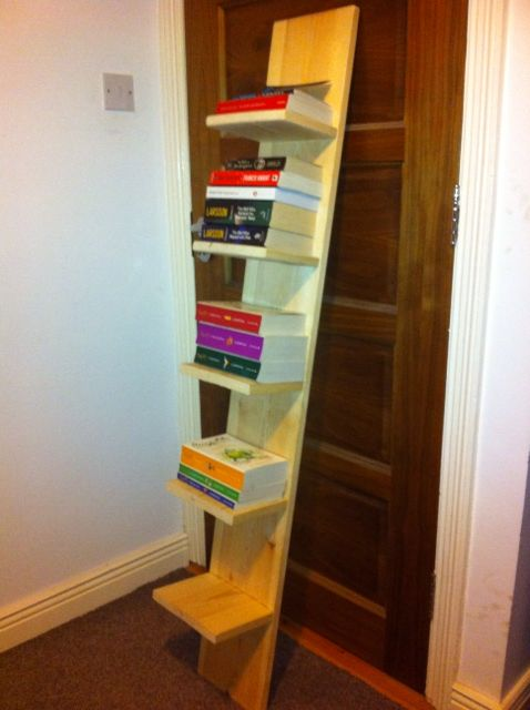 Book shelf, wood work, pine wood, leaning shelves, free standing shelf