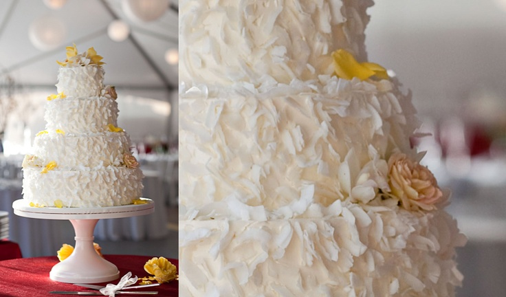 Yellow and White Wedding Cake Design with Flowers