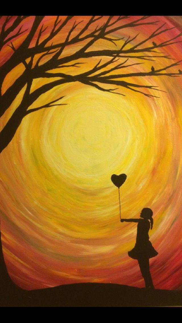 Madchen Mit Ballonschattenbildmalerei With Images Silhouette