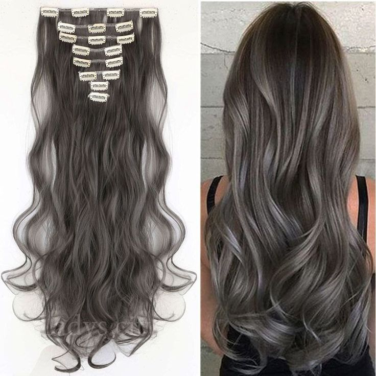 25 unique grey hair extensions ideas on pinterest black grey synthetic high heat clip in hair extensions 9pc set colour charcoal grey grey 20 120g pmusecretfo Images