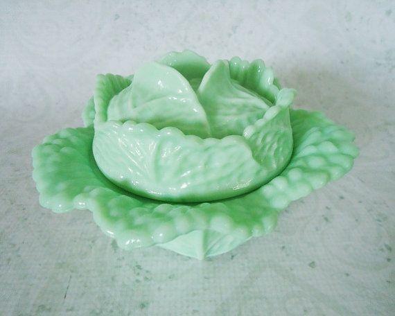 Fenton Jadeite Covered Bowl - Vintage Green Milk Glass Cabbage Bowl