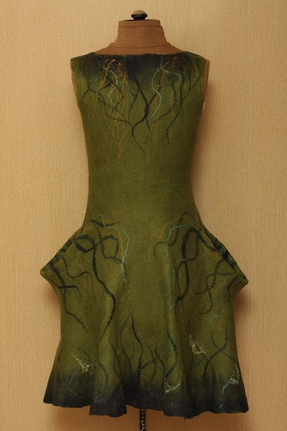 Love the details / feltwork on this felted dress - Roots / Frida Kahlo Viva la Vida Collection / Felted by LybaV, $500.00