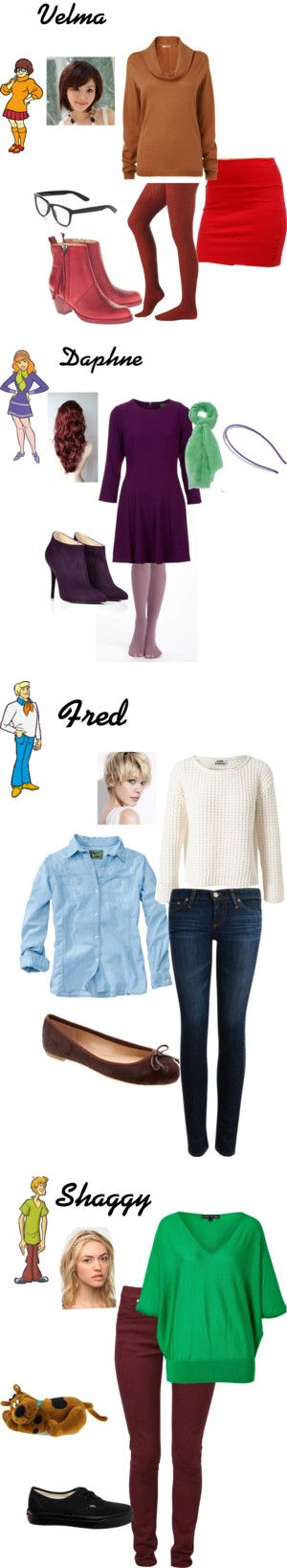 Casual cosplay of Velma, Daphne, Fred, and Shaggy (from Scooby Doo TV series)-- character inspired outfit