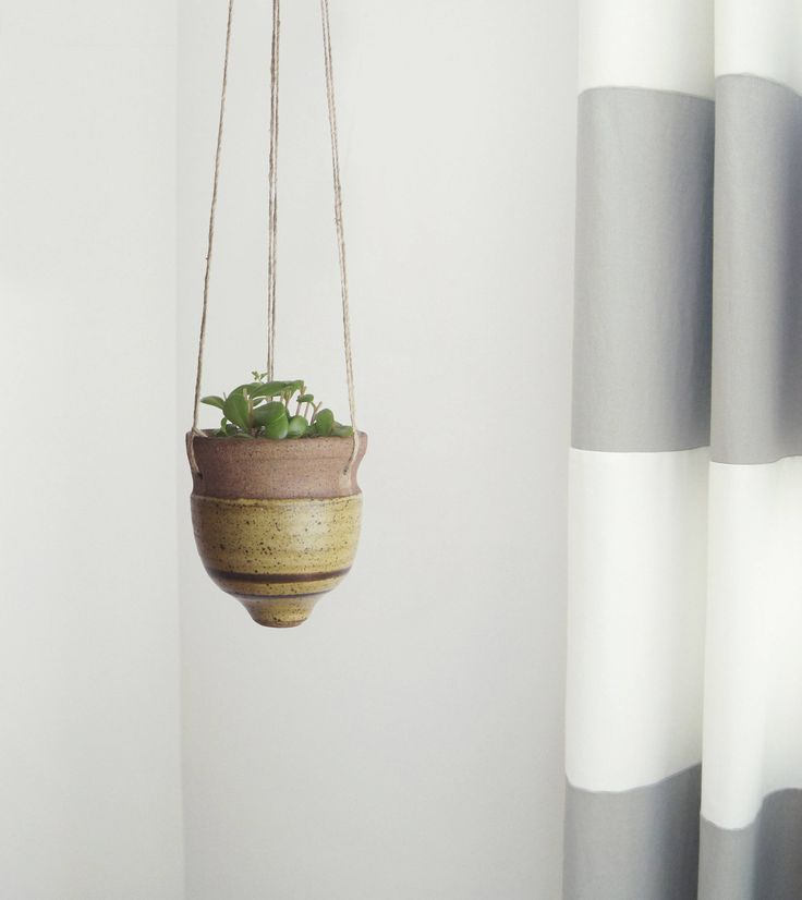 1970s Vintage Hanging Planter | Sandstone Pottery Clay | Striped Beige and Brown Succulent, Cactus Plant Pot Holder | Rustic Home Decor by ROCAILoldandloved on Etsy