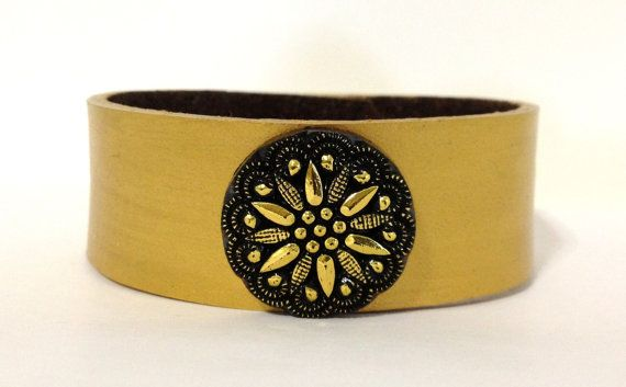 Gold leather bracelet cuff with gold and black centerpiece - womens leather cuff…